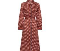 Allegra Belted Printed Satin-twill Midi Shirt Dress