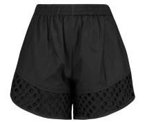 Broderie Anglaise-trimmed Cotton Shorts Schwarz