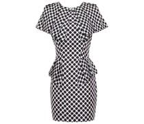 Cape-effect Pleated Polka-dot Silk-twill Mini Dress