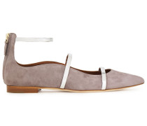 Robyn Metallic Leather-trimmed Suede Point-toe Flats