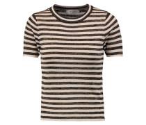 Sassia Metallic Striped Stretch-knit Top Ecru