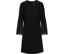 Woman Guipure Lace-paneled Wool-blend Crepe Mini Dress Black