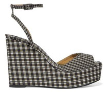 Zula gingham canvas wedge sandals