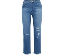 Wynne Cropped Distressed High-rise Straight-leg Jeans