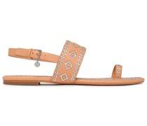 Sandalen aus Leder mit Stickereien