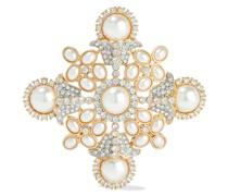 Goldfarbene Brosche mit Kunstperlen und Kristallen