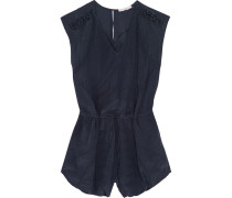 Austin Embroidered Chiffon Playsuit Navy