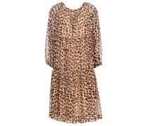 Gerafftes Kleid aus Crêpe De Chine mit Leopardenprint