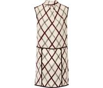 Printed Silk Turtleneck Mini Dress Elfenbein