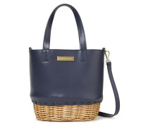 Woman Trieste Leather And Wicker Tote Navy