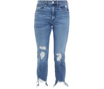 Halbhohe Cropped Jeans mit Geradem Bein in Distressed-optik
