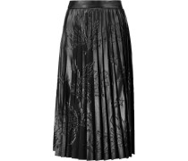 Pleated Embossed Faux Leather Skirt Schwarz