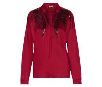 Sequin-embellished stretch-satin wrap blouse
