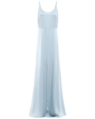 Satin-crepe Gown Sky Blue Size 14