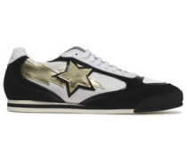 Metallic appliquéd mesh, patent-leather and suede sneakers