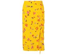 Ruched Printed Silk Crepe De Chine Midi Pencil Skirt