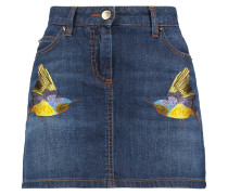 Studded Embroidered Denim Mini Skirt Mittelblauer Denim