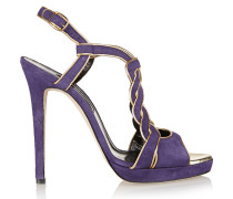 Petra Leather-trimmed Suede Sandals Lila