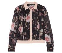 Amalia Cropped Floral-print Chiffon Shirt Mehrfarbig