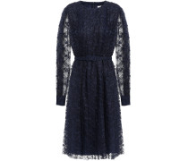 Belted Pleated Lace Dress