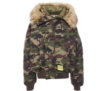 Faux Fur-trimmed Canvas Hooded Down Jacket
