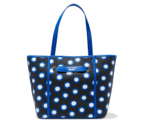 Polka-dot Textured-leather Tote