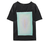 Satin-paneled Printed Cotton-jersey T-shirt