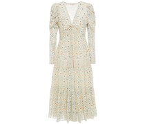 Miya Twist-front Printed Metallic Cotton-blend Midi Dress