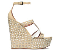 Laser-cut Patent-leather Wedge Sandals