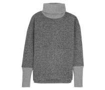 Cashmere-trimmed Fleece Turtleneck Sweater Grau
