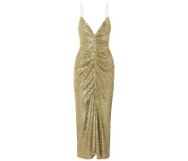 Ruched Sequined Tulle Midi Dress