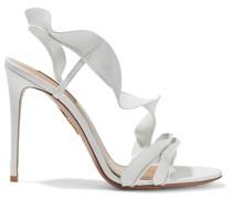 105 Ruffled Leather Slingback Sandals