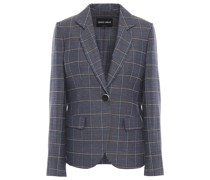 Checked Wool, Mulberry Silk And Linen-blend Blazer