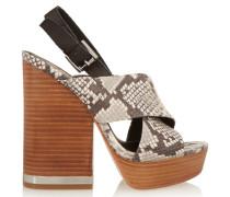 Rebbeca Snake-effect Leather Sandals Grau