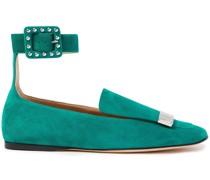 Loafers aus Veloursleder mit Nieten