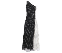 One-shoulder Pleated Polka-dot Silk-chiffon Midi Dress