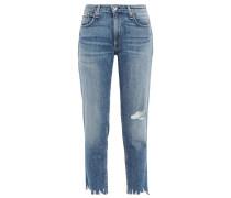 Dre Cropped Distressed Faded Boyfriend Jeans