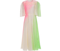 Pleated Neon Taffeta Midi Dress