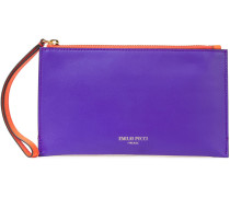 Smooth And Mirrored-leather Pouch