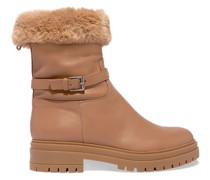 Faux Fur-lined Leather Boots