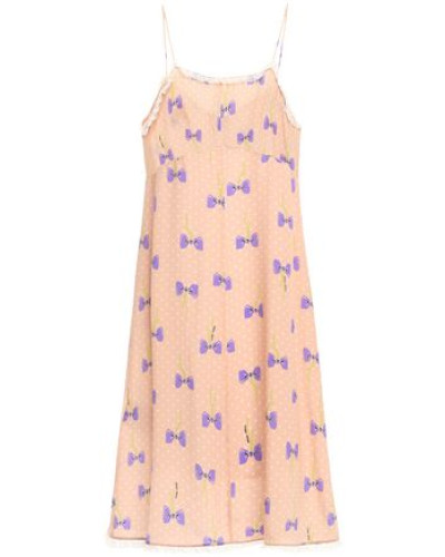 Woman Lace-trimmed Printed Silk Crepe De Chine Slip Dress Peach