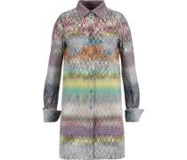 Crochet-knit wool-blend shirt