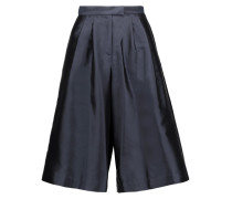 Pleated Silk And Cotton-blend Faille Culottes Mitternachtsblau