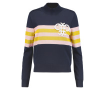 Appliquéd Striped Ribbed-knit Sweater Navy