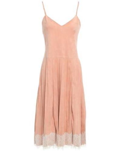 Woman Lace-trimmed Suede Midi Slip Dress Antique Rose