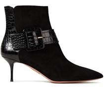 Bailey Ankle Boots aus Veloursleder und Leder mit Krokodileffekt