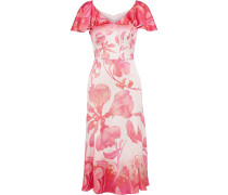 Ruffled Floral-print Hammered Silk-blend Satin Dress