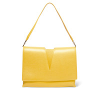 Cutout Textured-leather Shoulder Bag Gelb