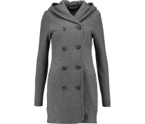 Double-breasted Cotton Hooded Coat Grau