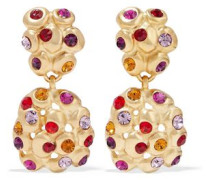 24-karat gold-plated crystal clip earrings